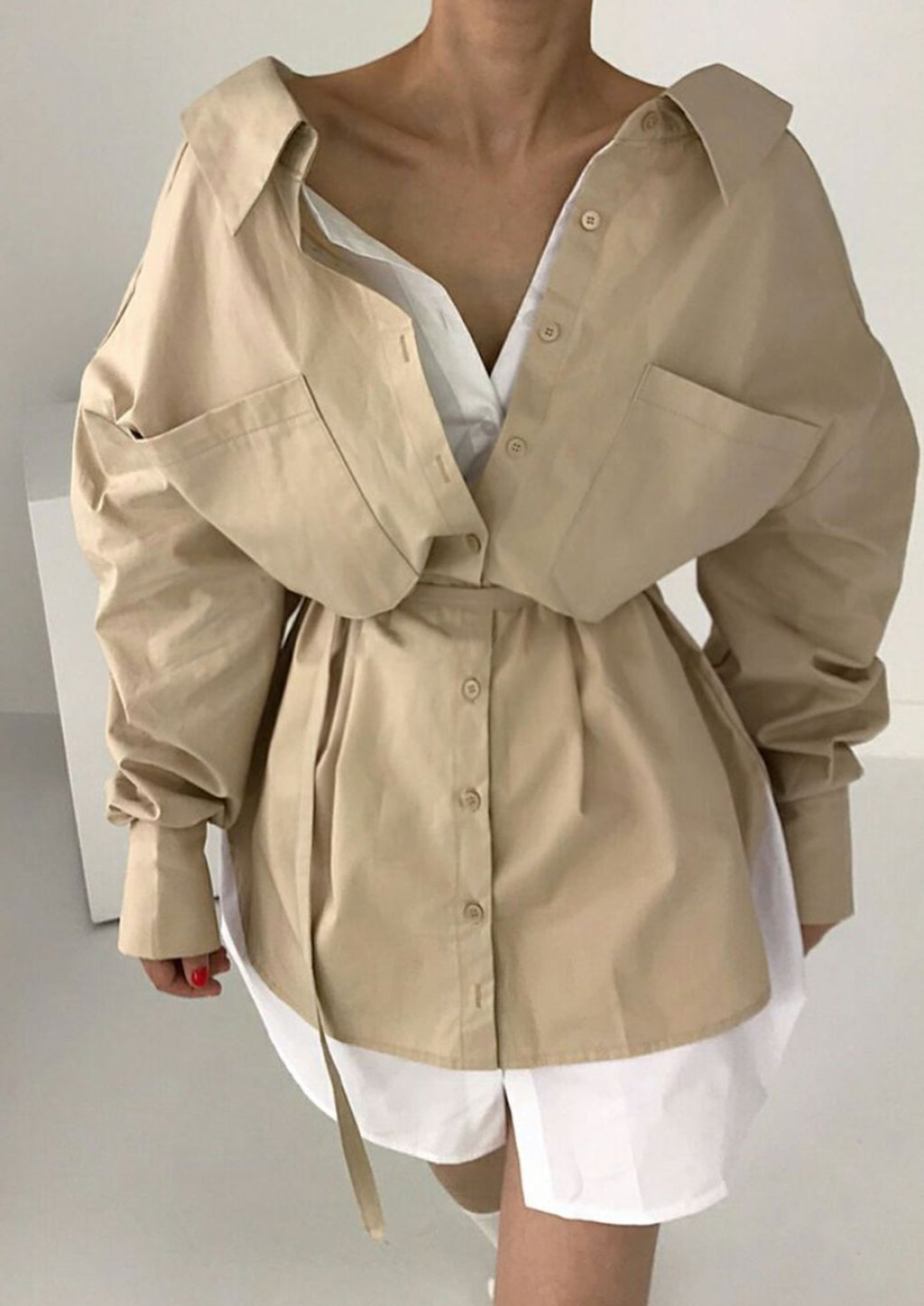 Layered Oversized Shirt Dress in Beige