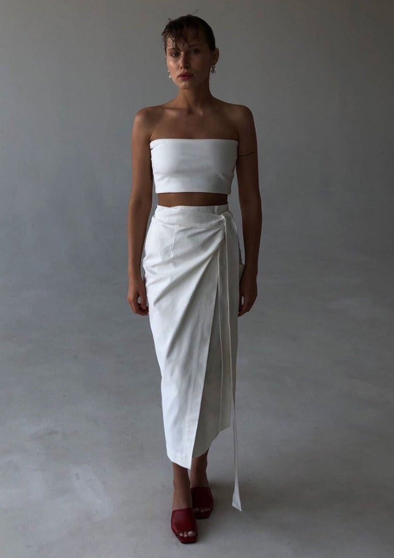 White Cotton Wrap Skirt By BIBLIOTHEQUE