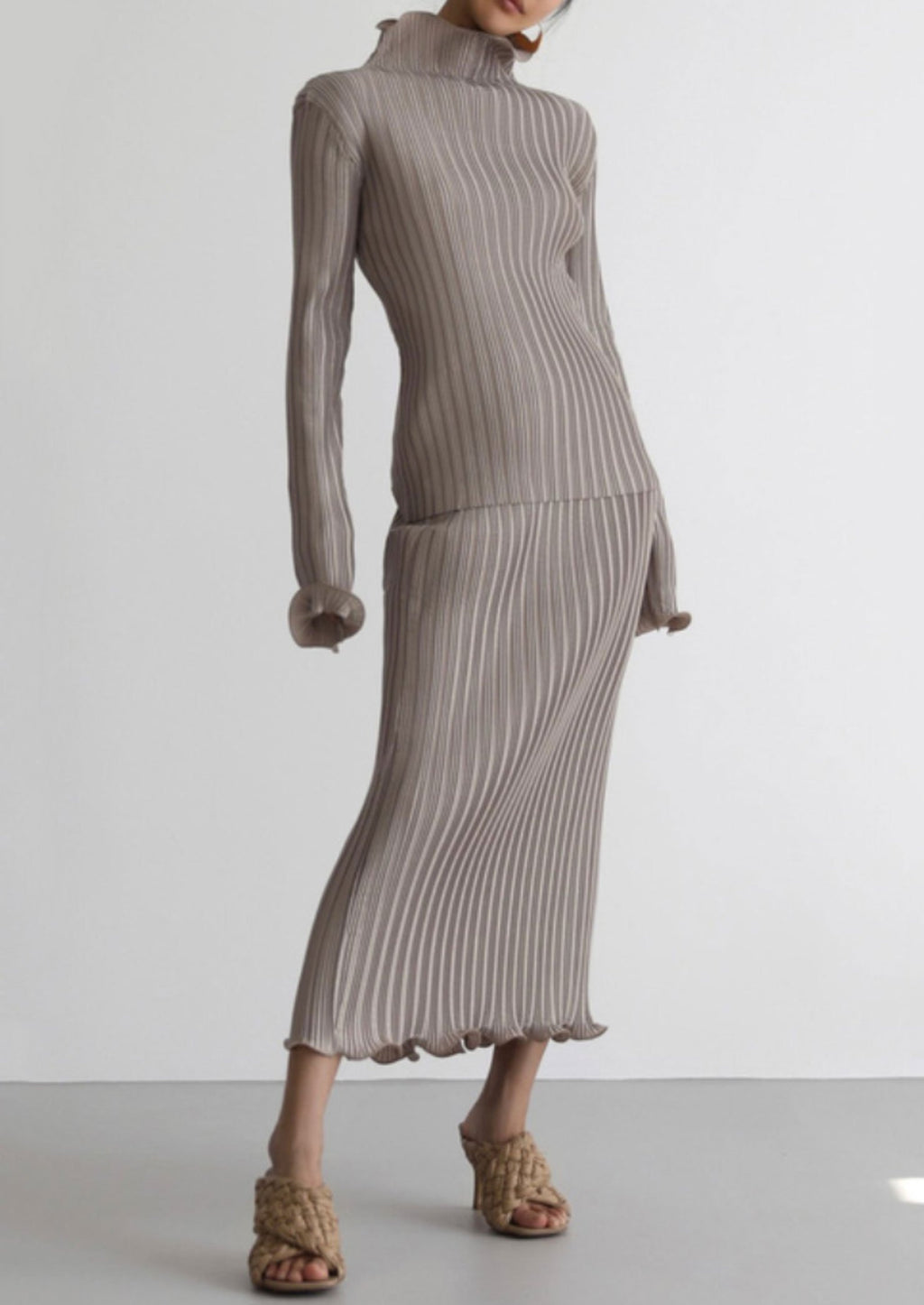 Pleated High Neck Top and Skirt Set in Warm Taupe