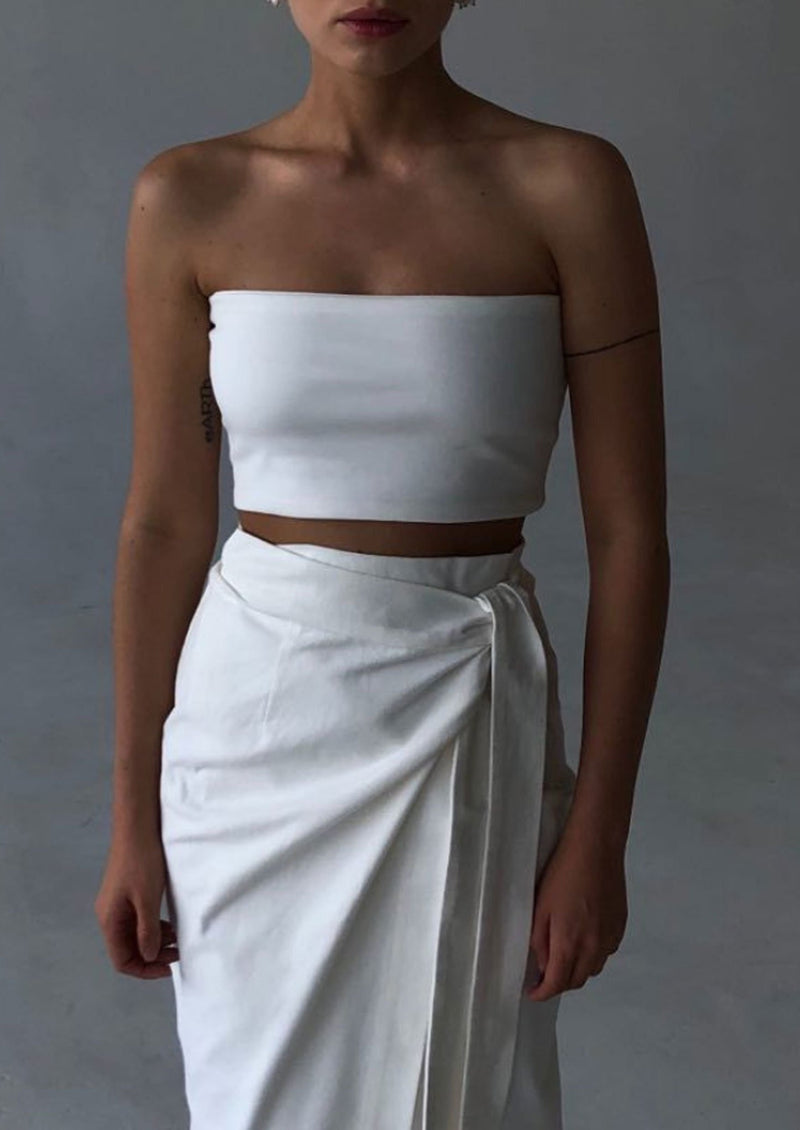 White Cropped Tube Top By BIBLIOTHEQUE