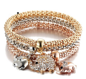 3 Pieces Crystal Charm Elephant Bracelet