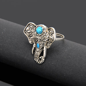 Blue Stone Elephant Ring