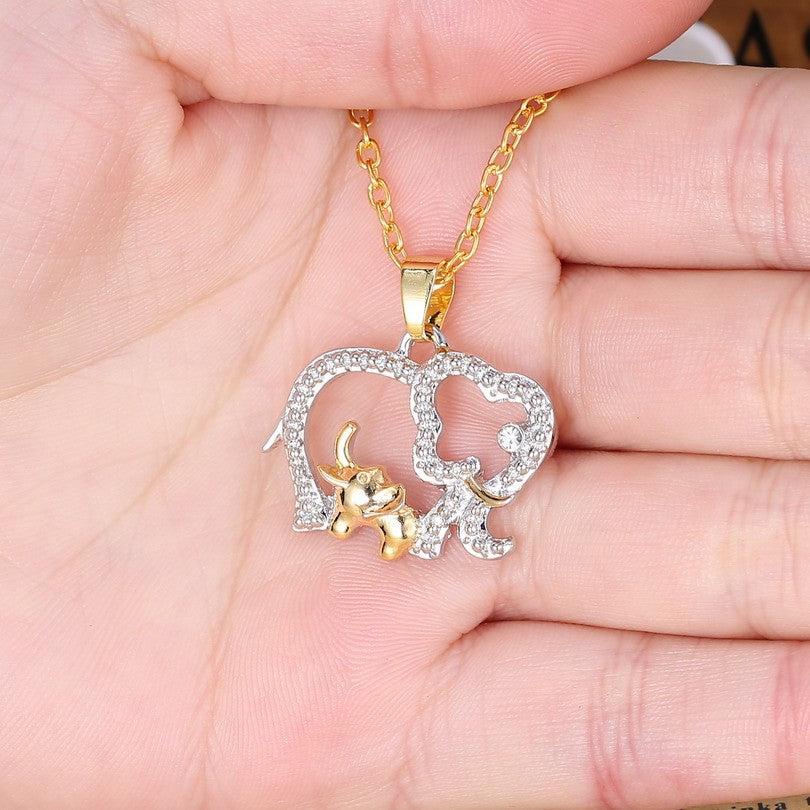 Gold Silver Plated Elephant Mom & Baby Necklace