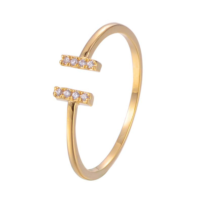 Bar Open Adjustable Ring With copper Zirconia 18K Gold/Platinum Plated
