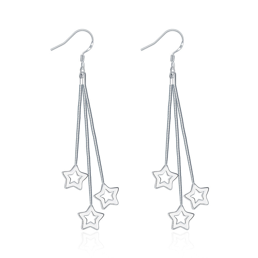 18K White Gold Plated Multi-Stars Drop Earring