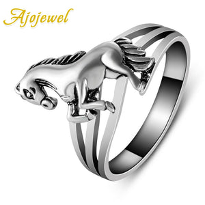 Ajojewel size 6.5-8-9 New fashion jewelry Brand Design Animal Jewelry High Quality Horse Rings Retro For Women 2018