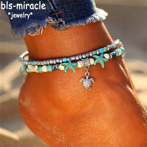 Bls-miracle Summer Beach New Fashion Foot Fewelry Bohemia Silver Tortoise Gift For Women To Beach Anklet Bracelet Jewelry A-56