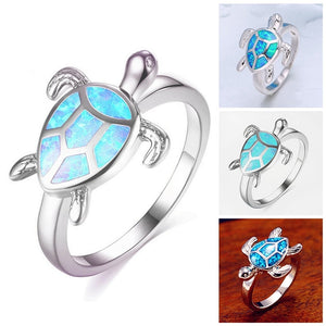 Turtle Blue Fire Opal Animal Rings For Women Wedding Band Fashion Jewelry Vintage Filled Cocktail Cute Ring