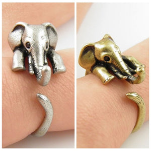 Antique Adjustable Elephant Ring (Silver and Bronze)