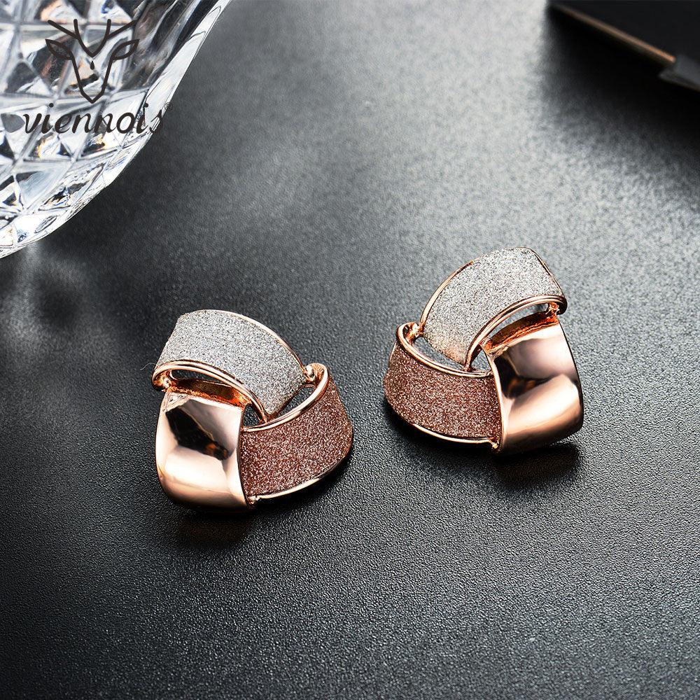 Triple Color Rose Gold Knot Stud Earrings