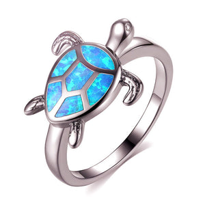 Marcatsa Unique Blue Fire Opal Turtle Rings for Women Wedding Band Vintage Animal Tortoise Ring Fashion Ocean Beach Jewelry Gift