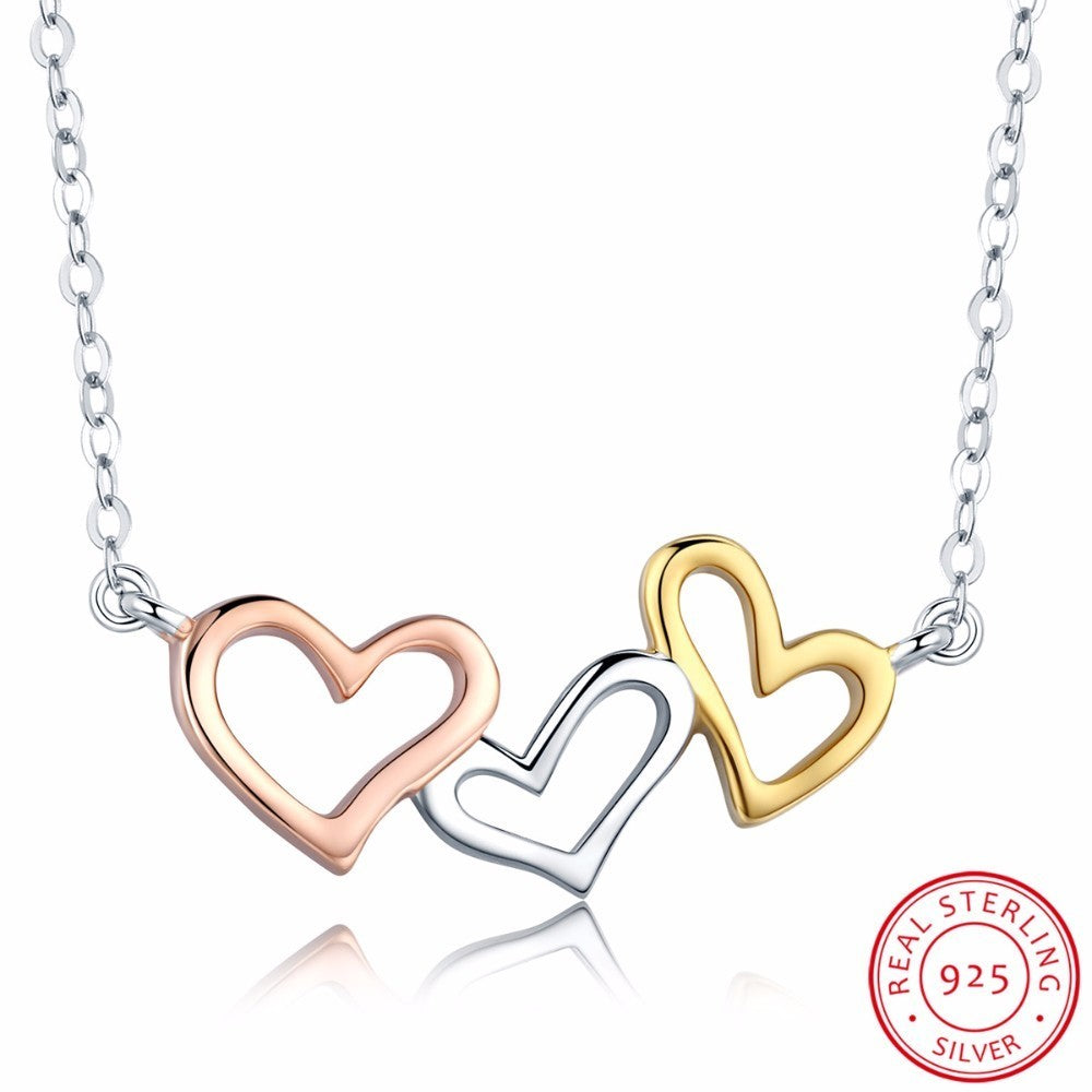 925 Sterling Silver Connected Hearts Necklace