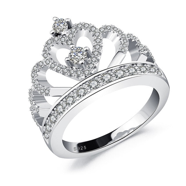 925 Sterling Silver Heart Crown Ring