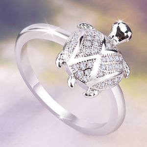 Cute Boho Female Big Turtle Ring Retro 925 Silver Crystal Zircon Stone Rings For Women Wedding Jewelry Valentine's Day Gift