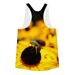 Yellow Flower - Green Bee Women's Racerback Tank