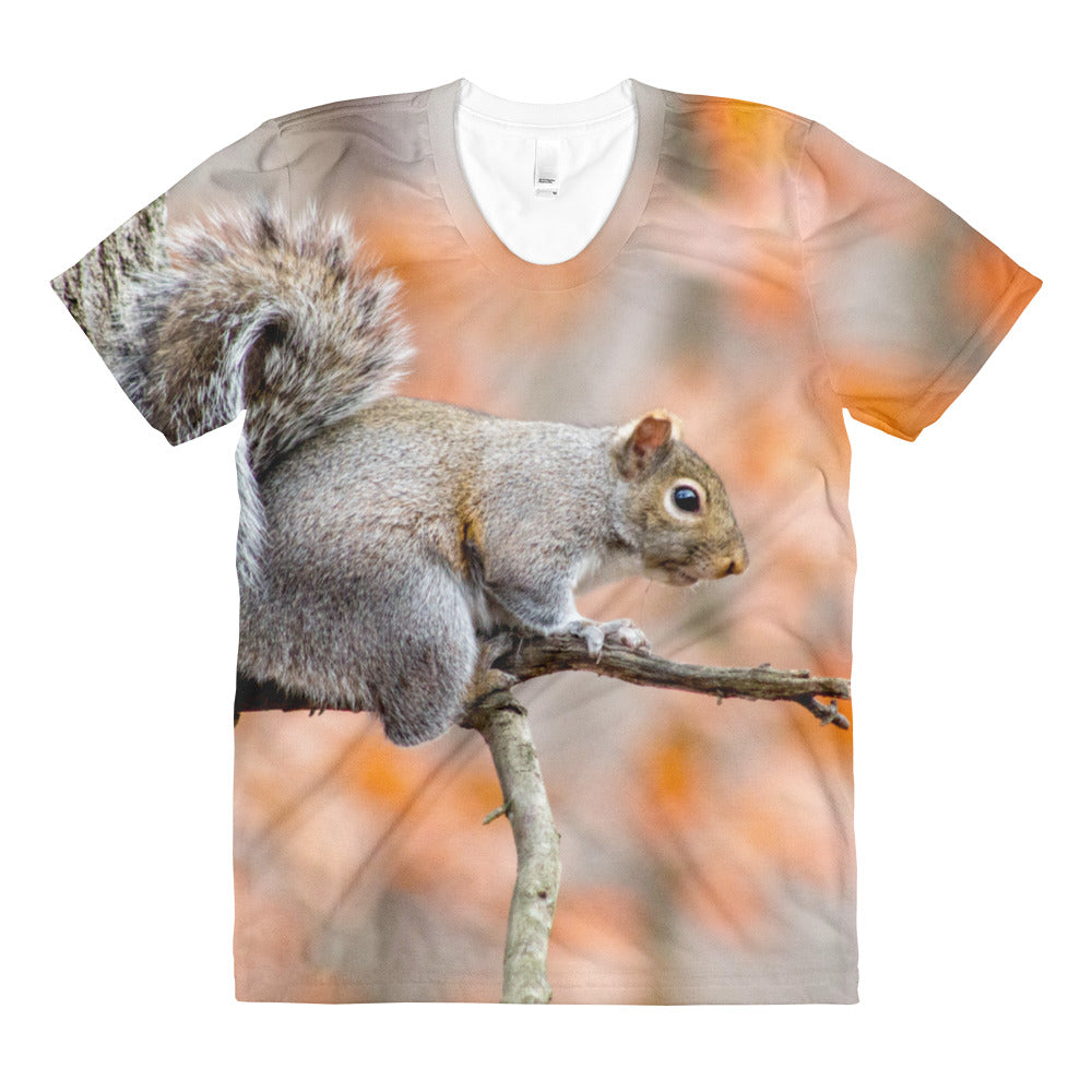 Squirrel Tee Sublimation women's crew neck t-shirt