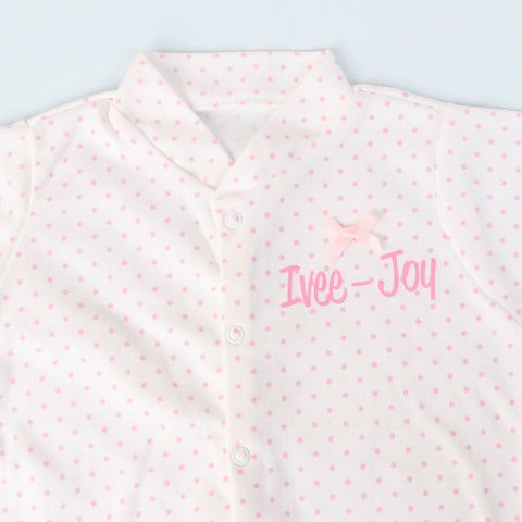 Personalised Pink Polka Dot  Baby Grow