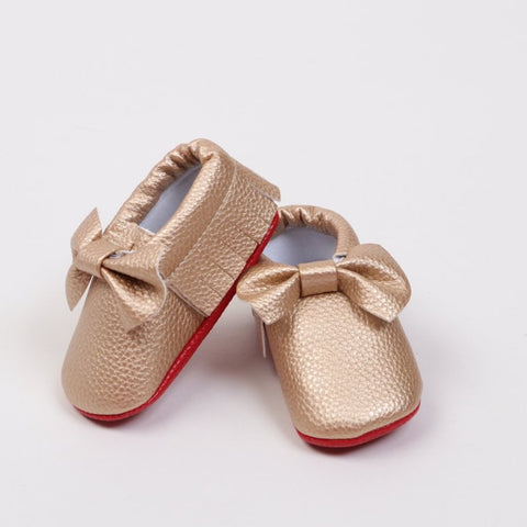 Red Sole Baby Moccasin - Gold