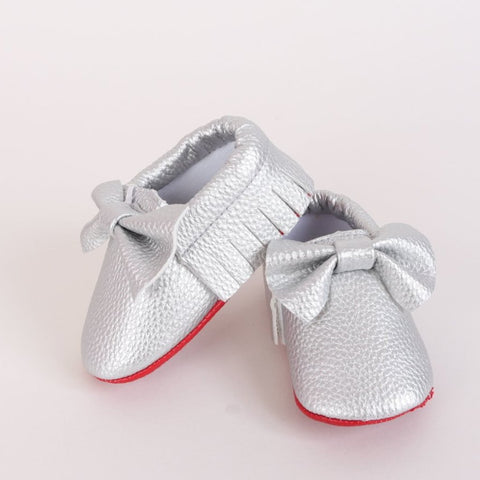 Red Sole Baby Moccasin - Silver