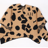 Monogramed Leopard Print Knitted Cape
