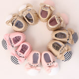 Studded Baby Moccasin - Stripe with Pink