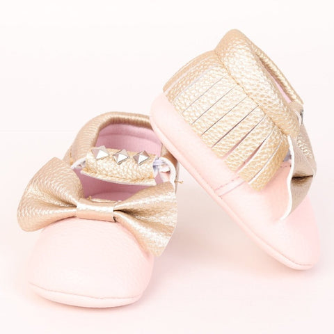 Studded Baby Moccasin - Pink and Gold