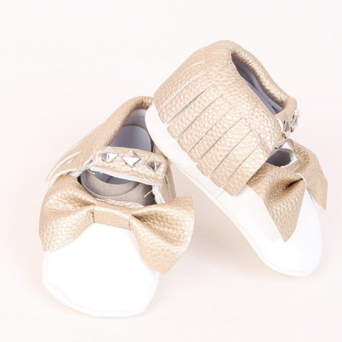Studded Baby Moccasin - White and Gold