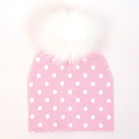 Pink With White Spot Faux Fur Pompom Hat