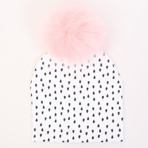 White With Brown Fleck Faux Fur Pompom Hat