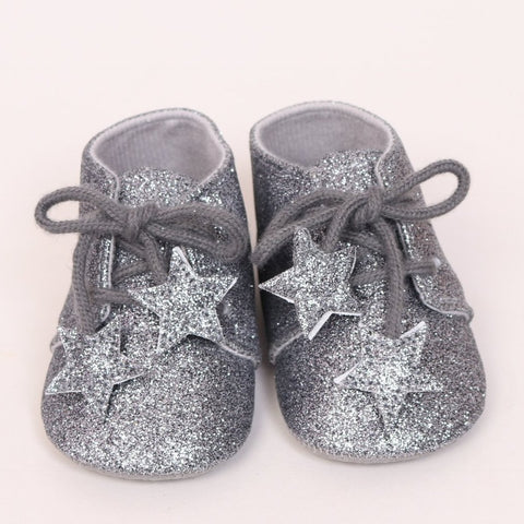 Silver Glitter Soft Shoes
