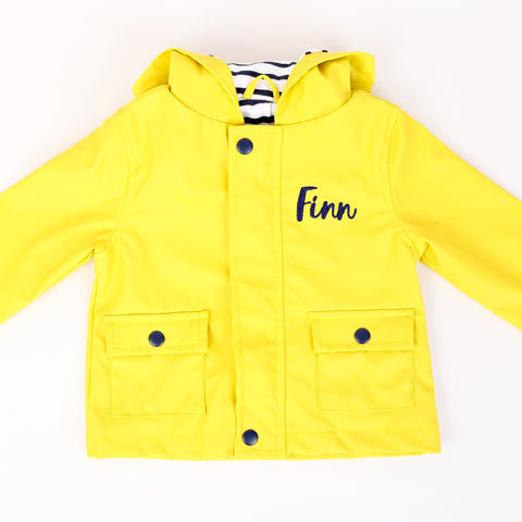 Personalised Yellow Rain Mac