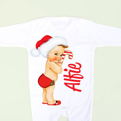 Baby Boy Christmas Personalised Footsie