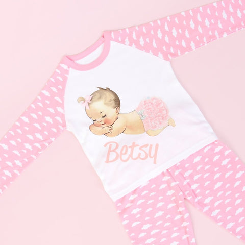 Personalised Pink Cloud PJ's