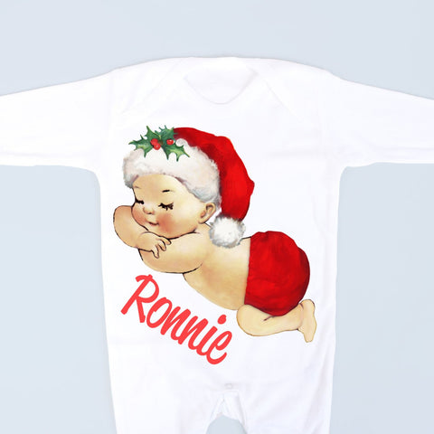 Boys Christmas Personalised Sleeping Baby Footsie