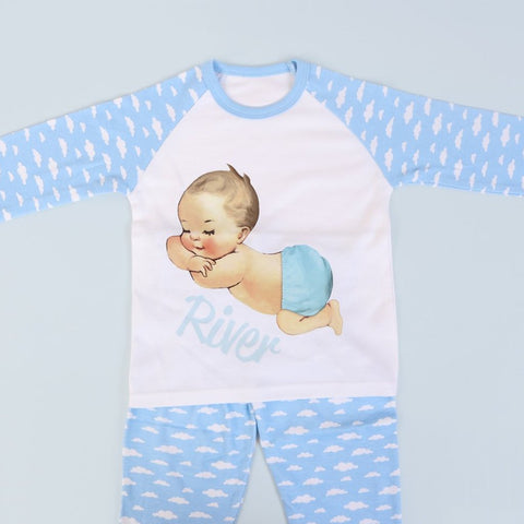 Personalised Sleeping baby boy Cloud PJ's