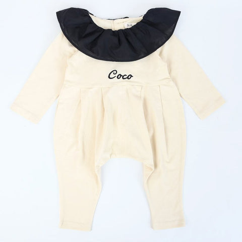 Personalised Cream and Black Romper