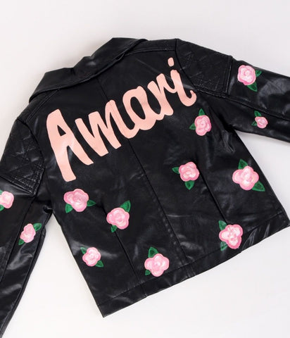Girls Personalised Painted Biker Jacket
