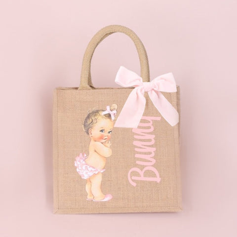 Girls Personalised Vintage Baby Bag - Available in 3 sizes