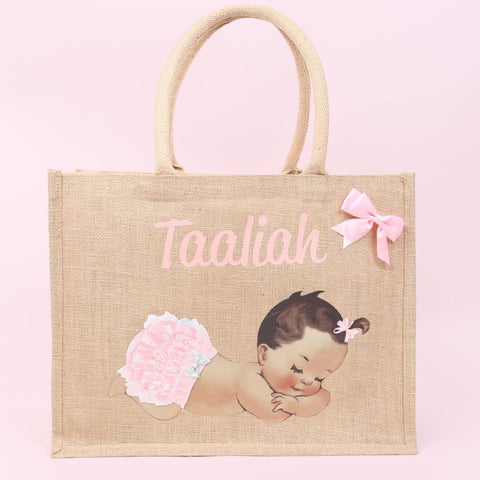 Personalised Sleeping Baby Girl Bag - Available in 3 Sizes