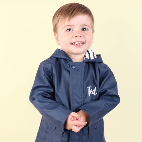 Personalised Navy Rain Mac