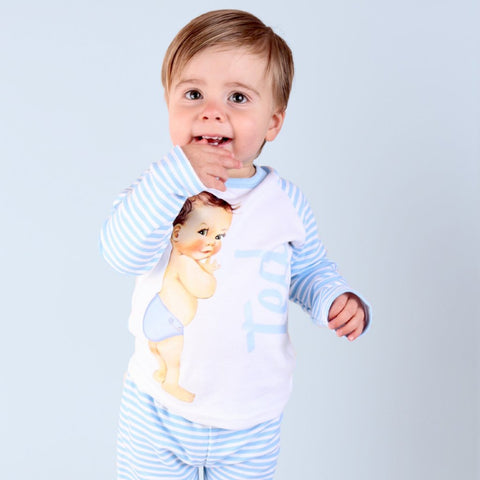 Personalised Vintage Baby Boy Stripy Pj's