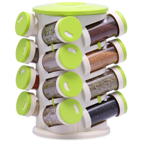 Green Spice Rack 16 Jars