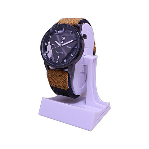 Transparent Black Leather Watch For Men