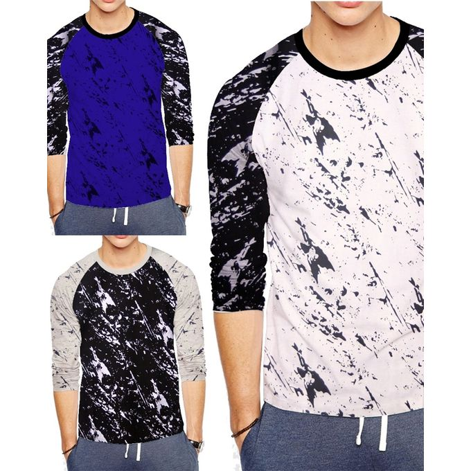 Pack of 3 Full Sleeves Cotton T- Shirts for Men