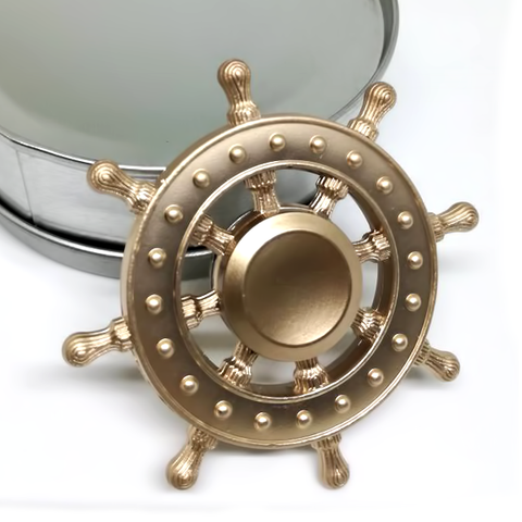 Pirate Ship Wheel Spinner in Gold