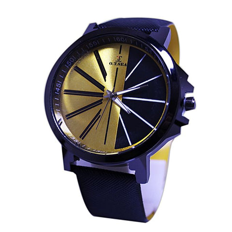 Black & Yellow Dial Leather Strap Watch For Men
