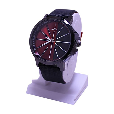 Black & Red Dial Leather Strap Watch For Men