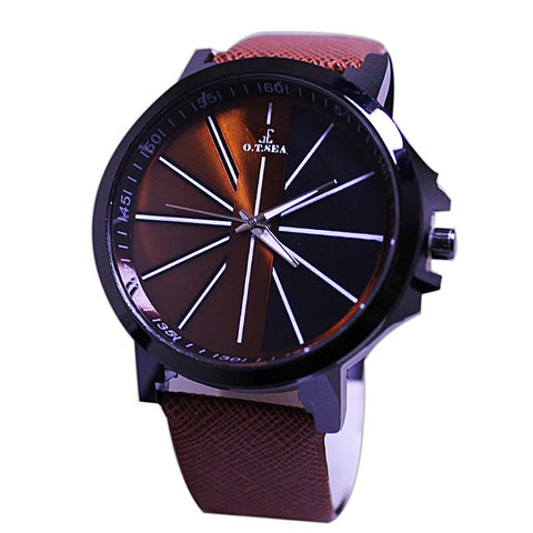 Black & Brown Dial Leather Strap Watch For Men