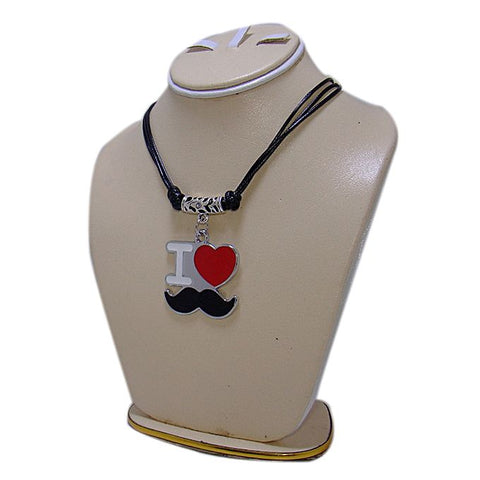 Black Metal I Love Mustache Pendant