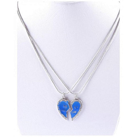 Best Friend Blue Broken Heart Pendant